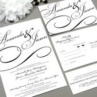 Calligraphy Black Tie | Modern Wedding Invitation Suite by RunkPock Designs | Formal Swirl Script Pocket Invitation shown in Black and White NEW DESIGN FOR 2014