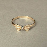 Genuine 10K GOLD Diamond Promise RING Engagement Wedding Jewelry Bow Design Hallmarks Size 6
