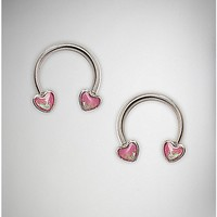 Pink Opal-Effect Heart Horseshoe Barbell Nipple Ring- 14 Gauge - Spencer's