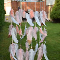 Baby Nursery Mobile, Coral Blush Feather Dreamcatcher Mobile, Coral Girl Nursery Decor, Baby Girl Nursery Mobile, Feather  Tribal Mobile