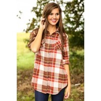I've Got You Plaid Blouse-Harvest
