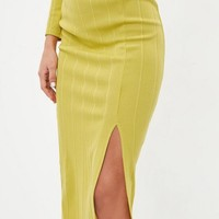 Missguided - Yellow Bandage Side Split Midi Skirt