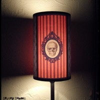 Baroque Skull Orange Lamp Shade Lampshade - Halloween Decor - customizable colors, goth decor
