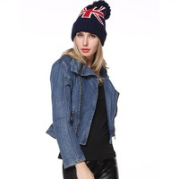 Shop Women's The Union Jack Pattern Beanie Hat with Pom Pom H1030