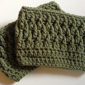 Crochet boot cuffs in green, boot socks, faux leg warmers