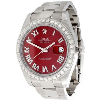 Mens DateJust II Rolex 116300 Diamond Watch 41mm Red Roman Numeral Dial 3 CT.