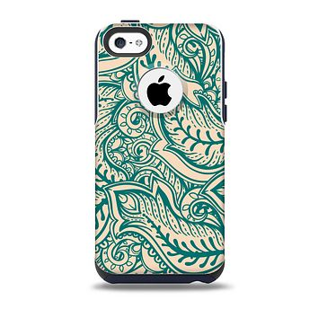 The Delicate Green & Tan Floral Lace Skin for the iPhone 5c OtterBox Commuter Case