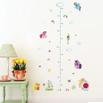 grow with pony growth chart wall stickers decals for kids room home decor animals wall art girls gift peel and stick diy