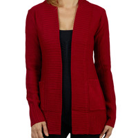 LE3NO Womens Long Sleeve Open Knit Cardigan with Two Pockets