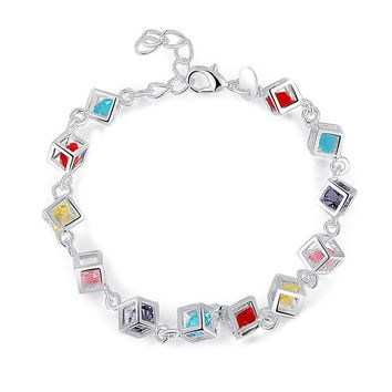 Unisex Jewelry Gifts Best Selling Sliver Plated Colorful Cube Lab Zircon Pendant Bracelet
