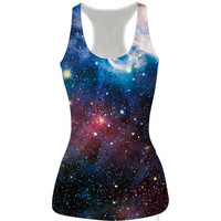 Womens Galaxy Slim Tank Top Casual Sports Vest for Summer Free Shipping