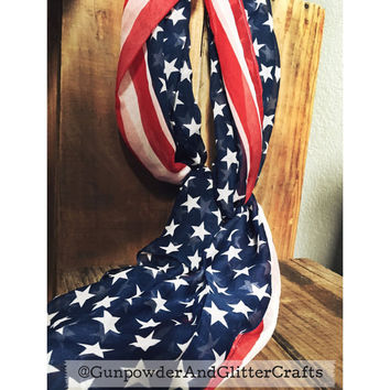 SALE Red White & Blue American Flag Chiffon Scarf