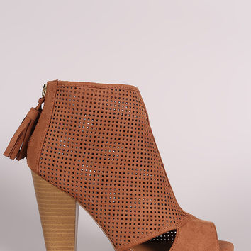 Qupid Perforated Cutout Chunky Heeled Ankle Boots