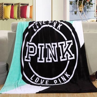 """ Pink "" Victoria Secret VS Printed Comfortable Soft Fleece Warm Travel Blanket Sofa Cover _ 9307"