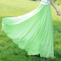 tourtown — Pleated mop full-skirted dress chiffon skirts summer fairy skirt
