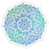 'Flower mandala sticker - shades of blue and green' Sticker by Mhea