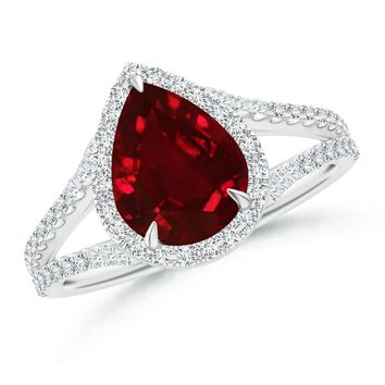 Diamond Split Shank Claw Set Halo Pear Ruby Ring