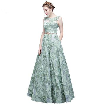Mint Green Evening Dress Lace Sleeveless Floor-length Prom Party Formal Gown