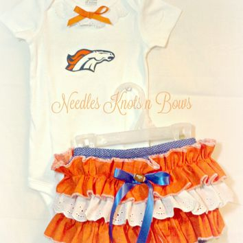 Girls Denver Bronco's Cheerleader Outfit, Baby Girls Bronco's Coming Home Outfit, Girls Football Team Outfits