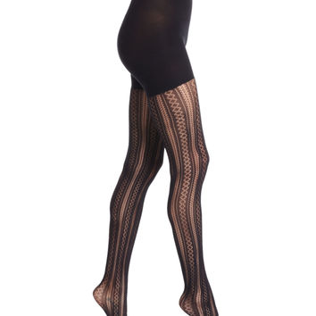 Case in Pointelle Patterned Tights, Very Black,