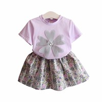 2018 kids girls clothes set kids trendy clothes Embroidered T-shirt and flower skirt children's clothes