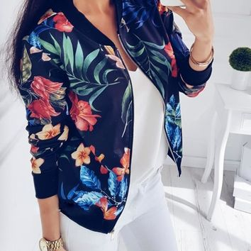 Spring Women Crop Jacket Vintage Floral Print Zipper Bomber Jackets Coat Female Biker Outwear Long Sleeve 3XL 5XL Plus Size 2019