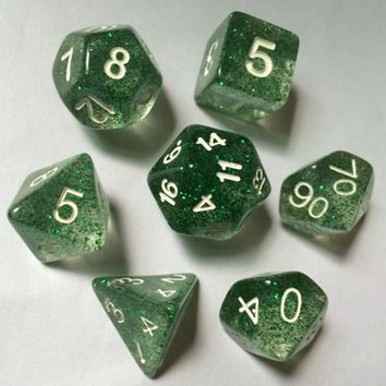 High Quality 7pcs / set Resin Glitter Powder Multi Sides Dice D4 - D20 TRPG Board Game for Dungeons & Dragons Playing Games