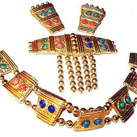Egyptian Revival Parure Bracelet Brooch Earring Set Coral Turquoise & Gold Metal Beads South West Vintage