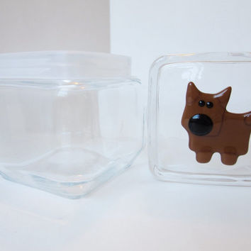 Personalized dog treat jar, dog lover container, fused glass dog, pet lover gift, kitchen decor for dog lover, dog cookie jar, customizable