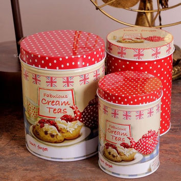 3 Pcs Retro Vintage Red Polka Tea Time Cream Cake Kitchen Coffee Tea Sugar Candy Biscuit Container Jar Tin Metal Zakka