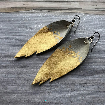 Gold Leather Feather Earrings, Artist made, Beautiful natural leather, Hypoallergenic ear wire, metallic foil painted, Tribal style by Tresa