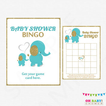 Gold and Teal Blue Baby Shower Bingo Game, Elephant Baby Shower, Boy Baby Shower, Printable Baby Shower Bingo - INSTANT DOWNLOAD EL0004-tg