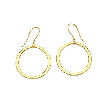 14K Yellow Gold Shiny Round Drop Earrings
