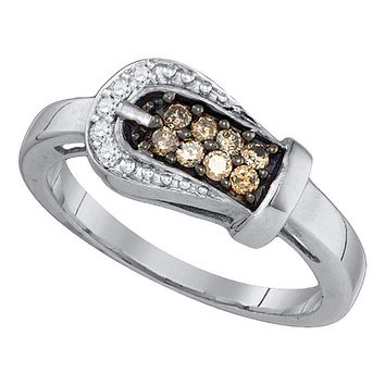 10kt White Gold Women's Round Cognac-brown Color Enhanced Diamond Belt Buckle Ring 1/4 Cttw - FREE Shipping (US/CAN)