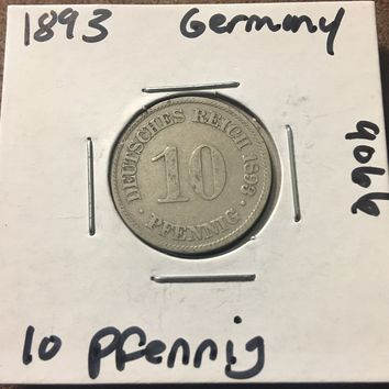 1893 German Empire 10 Pfennig Coin 9066