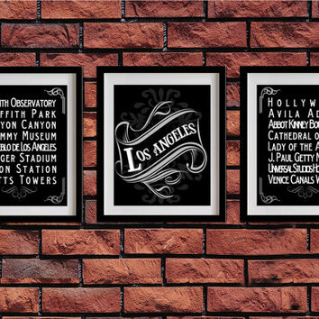 Los Angeles, California, Typography Art Poster - Vintage Map Typography, Chalk Art - Los Angeles' Attractions Wall Art Decoration - 030-S3