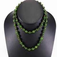 Nephrite Jade Bead Necklace Hand Knotted Pull Over, 62 Dark Green Jade Beads (7.93mm) Vintage 1940's Opera 26 inch Length Beaded Necklace