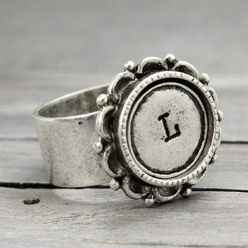 Custom Initial Ring, Antique Silver Ring, Ornate Ring, Hand Stamped Ring, Personalized Jewelry, Adjustable Ring,  Handstamped jewelry,