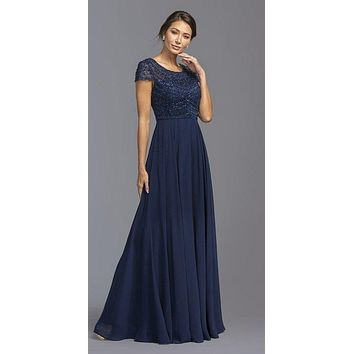 CLEARANCE - Scoop Neck Beaded Bodice Long Formal Dress Navy Blue (Size Large)