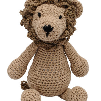 Brown Lion Handmade Amigurumi Stuffed Toy Knit Crochet Doll VAC