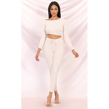 All Wrapped Up Long Sleeve Lounge Crop Top Off the Shoulder Chenille Skinny Legging Two Piece Jumpsuit - 3 Colors Available