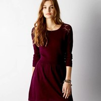 AEO LACE SHOULDER SWEATER DRESS
