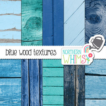 Blue Wood Digital Paper Pack – blue shabby wood patterns for scrapbooking – rustic blue wood textures – printable paper - commercial use