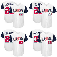 USA Baseball jerseys Andrew McCutchen Giancarlo Stanton Buster Posey Eric Hosmer Majestic White 2017 World Baseball Classic Authentic Jersey