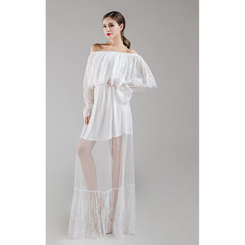 White Mesh Off Shoulder Maxi Dress