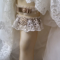 Wedding leg garter, Wedding Garters ,Garter, Bridal Garter Set ,İvory Lace Garters, Bridal  Accessory,Wedding  Accessory