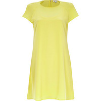 River Island Womens Yellow short sleeve swing dress