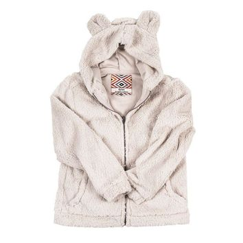 CHILD'S Silky Pile Pullover Teddy Bear in Winter White by True Grit - FINAL SALE