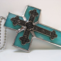 Stained Glass Cross Teal Rearview Mirror Car Suncatcher Ornament