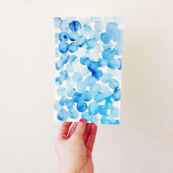 Blue abstract watercolor dot painting (original)